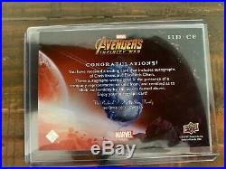 Dual Chris Evans Elizabeth Olsen UD Marvel Avengers Infinity War Auto Autograph