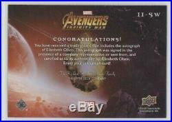 Elizabeth Olsen 2018 UD Marvel Avengers Infinity War Auto Autograph II-SW SP