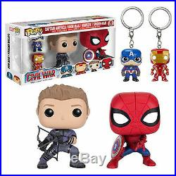 Funko POP! Marvel CIVIL WAR 4-PACK Spider-Man, Hawkeye, Iron Man, Cap