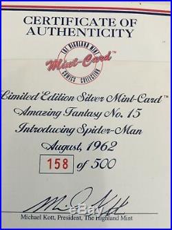 Highland Mint Marvel Comics Amazing Fantasy #15 1996 Silver / Bronze Stan Lee