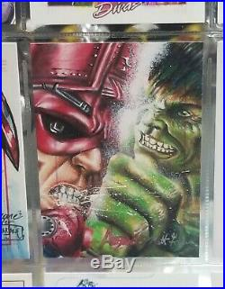 Hulk vs. Galactus Marvel Avengers Sketch Card Matt Glebe