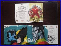 LOT 2 2014 Marvel Premier Sketch X-MEN Nightcrawler Wolverine Cyclops panel