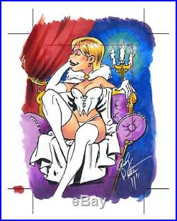MARVEL Dangerous Divas UNCUT sketch card WHITE QUEEN/EMMA FROST by ANDY PRICE