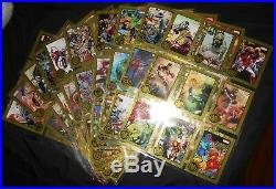MARVEL GREATEST BATTLES FULL SET 90 GOLD PARALLEL BASE CARDS(124 packs # to 75)