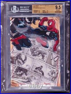 MARVEL GREATEST BATTLES Warren Martineck 5x7 SPIDERMAN VS VENOM Sketch Card