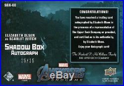Marvel Avengers Endgame, Elizabeth Olsen Shadow Box Autograph Card SBA-EO #25/25