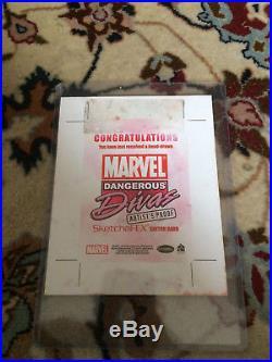 Marvel Dangerous Divas Artist Proof JAM Sketch Card AP Axebone/Rhi Owens
