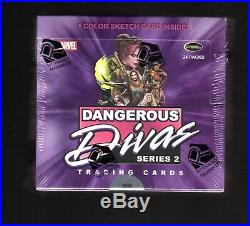 Marvel Dangerous Divas SERIES 2 Factory Sealed Box With Colored Sketch