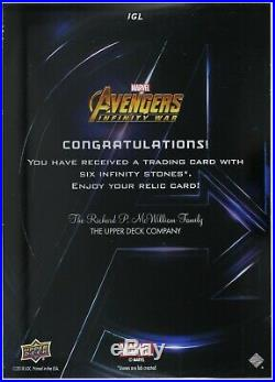 Marvel MCU Avengers Infinity War 5x7 Gauntlet Stone Marathon Relic Achievement