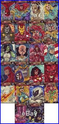 Marvel Masterpiece Artist Sketch Card Cyclops & Jean J Watkins Chow Tarot Lovers