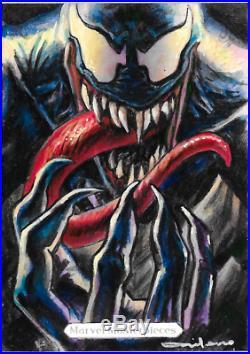 Marvel Masterpieces 2018 Simone Bianchi Sketch Card Fabian Quintero Venom PAINT
