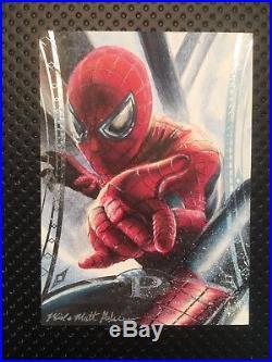 Marvel Premier 2014 Spider-Man Sketch Card Auto By Mick and Matt Glebe