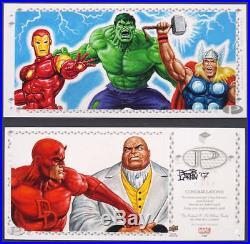 Marvel Premier 3 Panel Hulk Thor Iron Man Daredevil Sketch Card by Bob Larkin