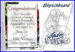 Marvel Stan Lee + Mike Wieringo autograph card Sketchboard 1998 Fleer Skybox
