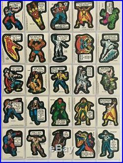 Marvel Super Heroes Vintage Sticker Card Set 40 Sticker Cards Topps 1976