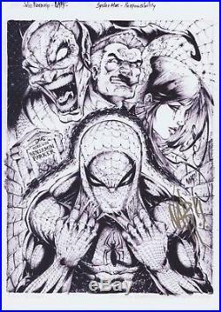 Nar 2012 Marvel Premier Emotion Art sketch print set rare Spiderman 1 of kind