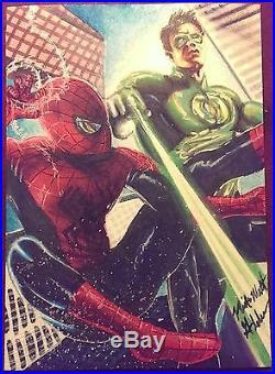Spider-man/Green Lantern' Mick & Matt Glebe. PSC. Marvel/DC Comics Sketch