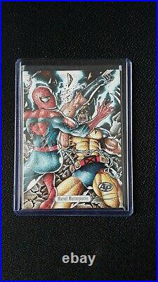 Spiderman vs Wolverine 1/1 Sketch by Basio 2016 Marvel Masterpieces Joe Jusko