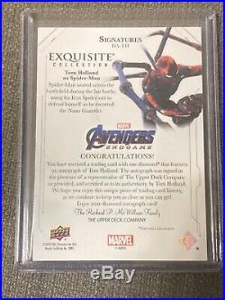 Tom Holland as Spider Man UD Avengers Endgame Captain Marvel Diamond Auto 3/5