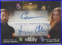 UD Marvel Avengers Infinity War CHRIS EVANS/ELIZABETH OLSEN Dual Autograph Auto