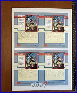 UNCUT Sheet 1992 Impel Marvel Comic Gambit XH-3 Hologram Trading Cards X-Men