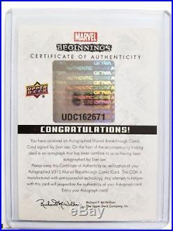 Upper Deck Marvel Beginnings Stan Lee Autograph Rare Htf Coa