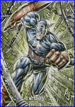 Upper Deck Marvel Masterpieces 2018 Sketch Card By Anthony Tan Captain America