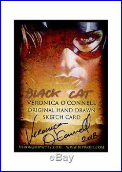 Veronica O'Connell BLACK CAT sketch card Marvel comic pin-up superhero ART PSC