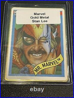 Very Rare Stan Lee Autographed Gold Mr Marvel Trading Card Rookie 1991