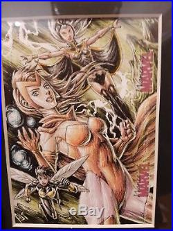 Women of Marvel Anthony Tan AJT dual sketch card Scarlet Witch Storm and Wasp
